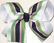 White and Navy Apple Pink and White Stripe Large Double Layer Bow