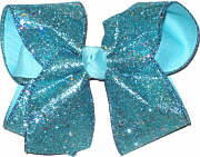 Blue Glitter over Blue Large Double Layer Bow