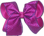 Chiffon with Fushia Glitter Dots over Fushia Large Double Layer Bow