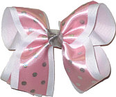 Satin Pink with Silver Dots over White Large Double Layer Bow