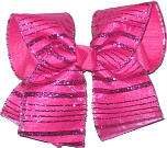 Chiffon with Shocking Pink Glitter Stripes over Shocking Pink Large Double Layer Bow