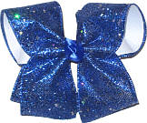 Century Blue Glitter over White Large Double Layer Bow