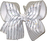 Chiffon with Silver Giltter Stripes over WHite Large Double Layer Bow