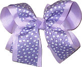 Orchid with White Dots over Light Orchid Large Double Layer Bow