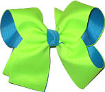 Neon Lime and Sapphire Large Double Layer Bow