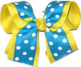 Turquoise with White Dots over Maize Large Double Layer Bow