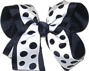 Navy and White Large Double Layer Bow