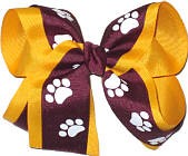 Burgundy and White over Yellow Gold Large Double Layer Bow