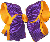 Regal Purple and Yellow Gold MEGA Extra Large Double Layer Bow