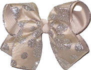 Chiffon with Silver Coin Glitter Dots over Oatmeal Large Double Layer Bow