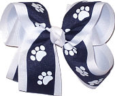 Navy and White over White Large Double Layer Bow