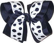 Navy and White MEGA Extra Large Double Layer Bow
