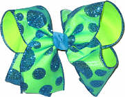 Chiffon with Blue Coin Glitter Dots over Neon Lime Large Double Layer Bow