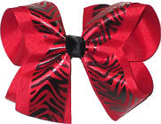 Red and Black Tiger over Red Large Double Layer Bow