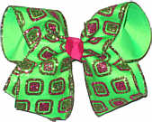 Red and Metallic Glitter Chiffon over Neon Green Large Double Layer Bow