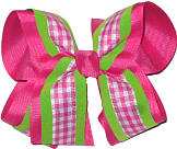 Pink White Green over Shocking Pink Large Double Layer Bow