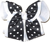 MEGA Black with White Dots School Bow