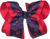 Navy over Red Large Double Layer Bow