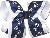 Navy over White Large Double Layer Bow