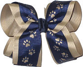 Navy over Khaki Large Double Layer Bow