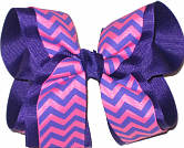 Regal Hot Pink and Orchid Large Double Layer Bow