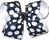 Navy with White Dots over White Large Double Layer Bow