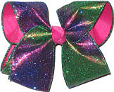 Purple and Green Glitter over Shocking Pink Large Double Layer Bow