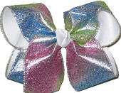 Azalean, Green, and Blue Glitter over White Large Double Layer Bow