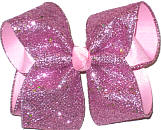 Pink Glitter over Light Pink Large Double Layer Bow
