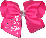 Large Shocking Pink and Silver with Gymnast Monogram and Rhinestones Monogram Design