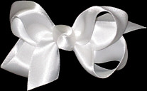 Small White Satin Bow