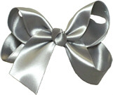 Medium Gray Satin Bow