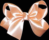 Medium Peach Satin Bow