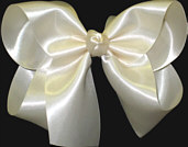 Large Creme Satin Bow