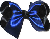 Medium Navy over Black Satin Overlay Bow