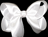Medium Satin Bow with Rhinestone Center
