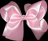 Large Satin Bow with Rhinestone Center