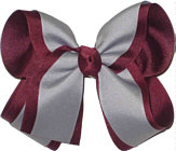 Large Burgundy and Grey Large Overlay School Bow