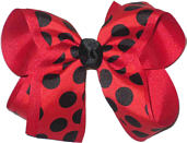 Large Red and Black Large Overlay School Bow