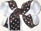 Large Brown and White Large Die Cut Ribbon Overlay School Bow