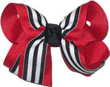 Medium Red Navy and White Medium Overlay School Bow