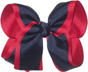 Large Red and Navy Large Overlay School Bow