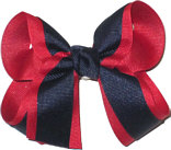 Medium Red and Navy Medium Overlay School Bow