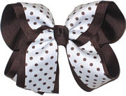 Large Brown and White Large Overlay School Bow