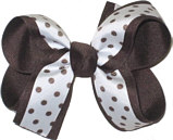 Medium Brown and White Medium Overlay School Bow
