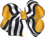 Medium Yellow Gold Black and White Medium Overlay School Bow