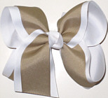 Large White and Khaki Large Overlay School Bow
