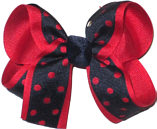 Medium Red and Navy Medium Die Cut Ribbon Overlay School Bow