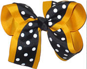 Large Yellow Gold Black and White Large Overlay School Bow