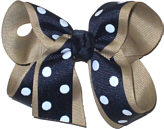 Medium Oatmeal and Navy Medium Overlay School Bow